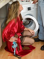 the plumber gets some nylon action