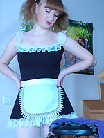Cute ponytailed maid tries on all types and brands of hose with her uniform