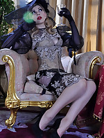 Fancily dressed lady shows off her elegant contrast top and seam stockings